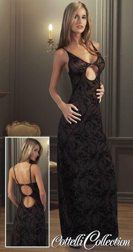 langes Kleid mit Samtbeflockung