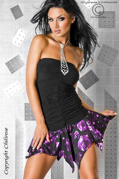 Minikleid schwarz-pink