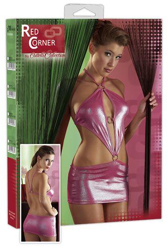 Pinkfarbenes Glanz-Minikleid mit Neckholder