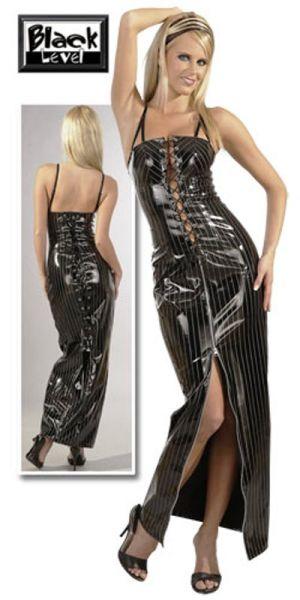 Lack-Kleid mit silbernen Nadelstreifen in XXL