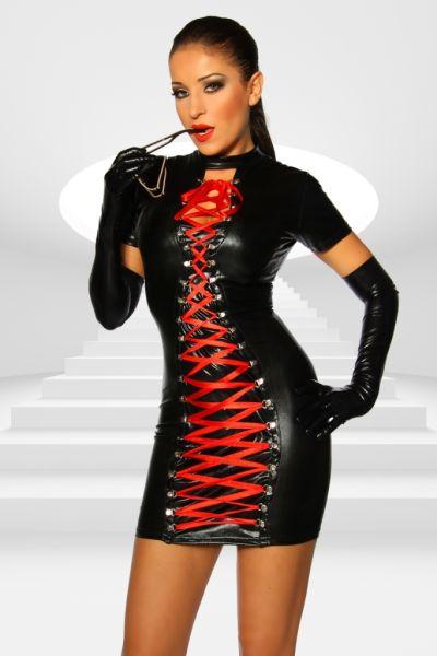 erotisches Wet-Look Kleid