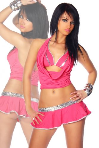 Gogo-Outfit in Pink / Silber
