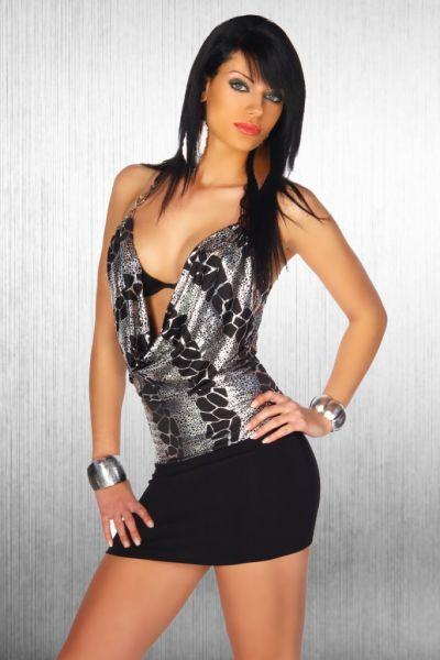 erotisches Kleid mit Wasserfall-Dekolleté