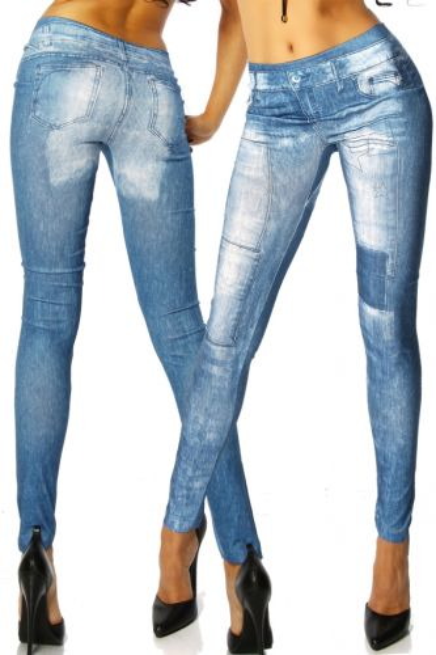 elastische Leggings mit Jeans-Print