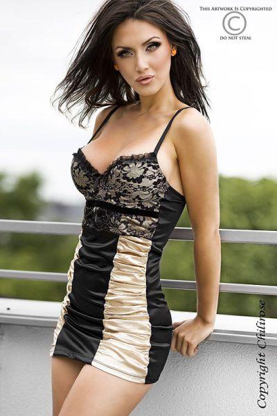 Gold-schwarzes Minikleid