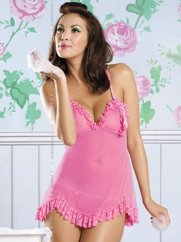 Transparentes Babydoll in Pink
