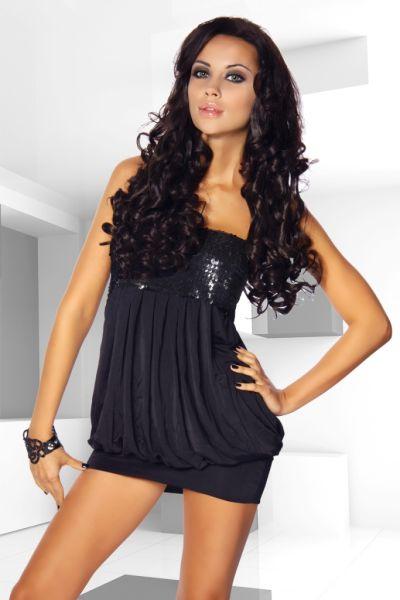schwarzes Ballon-Kleid mit Pailletten