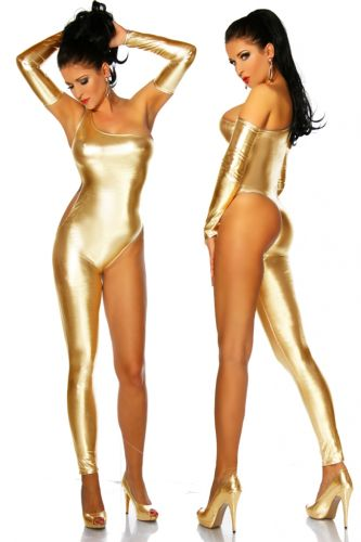 goldener Overall im Metallic-Look