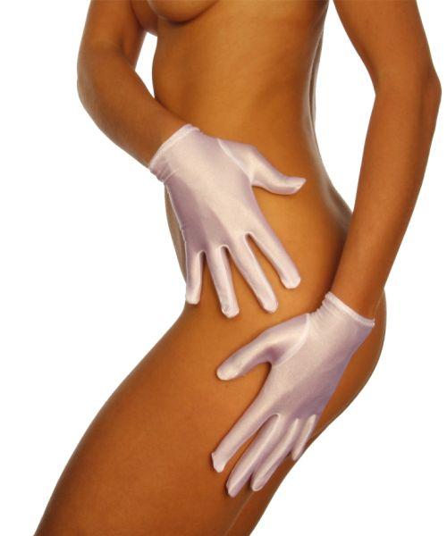 kurze Handschuhe aus weißem Stretch-Satin