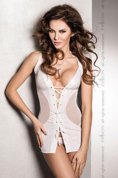 Weißes Wetlook-Kleid