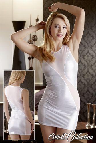 Minikleid im weißen Silberglitzer-Look