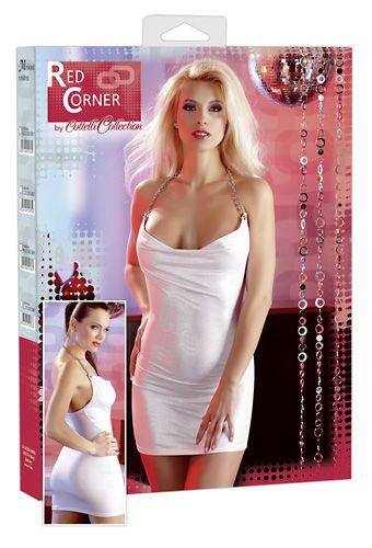 weißes Kleid mit Ketten-Neckholder