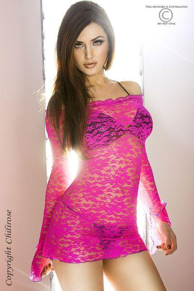 Langärmeliges Babydoll in Pink
