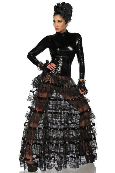 Wetlook-Kleid mit langen gestuften Rockteil
