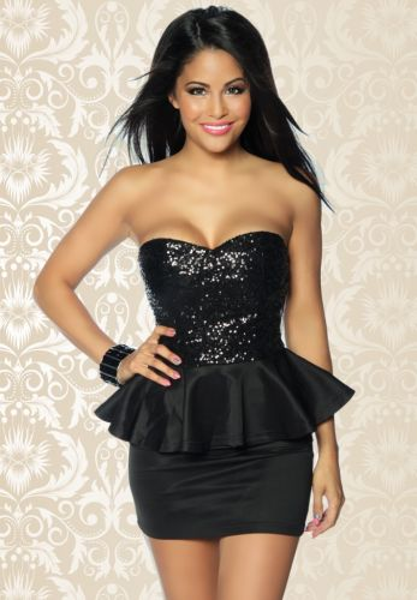 schwarzes Vintage-Kleid mit Pailletten