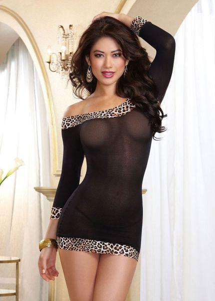 Babydoll schwarz / leopard von Dreamgirl