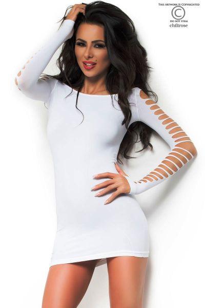 weißes Minikleid mit Maschen von Chilirose