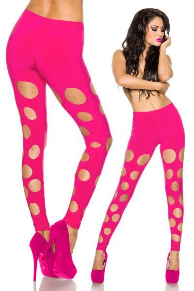 Leggings mit Cutouts in Neonpink