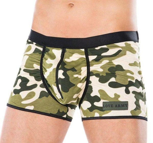 Boxershorts mit Camouflage-Muster und Zipper