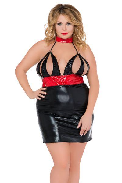 Kleid aus schwarzem Wetlook mit rotem Latex
