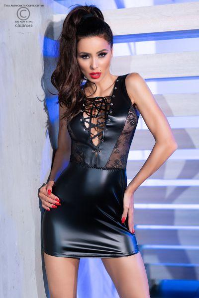 Minikleid aus elastischem Kunstleder und transparentem Mesh