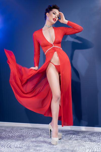 langes Kleid aus halbtransparentem Tüll