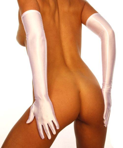sexy Satinhandschuhe in Weiß