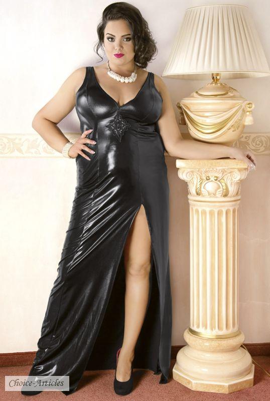 big size fashion langes wetlook kleid mit schlitz bis 54 56. Black Bedroom Furniture Sets. Home Design Ideas