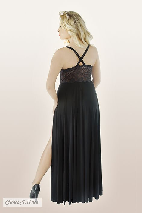 sch ne kleidung f r mollige langes erotik kleid mit spitze. Black Bedroom Furniture Sets. Home Design Ideas