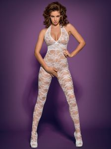 Bodystocking, Catsuit in Weiß