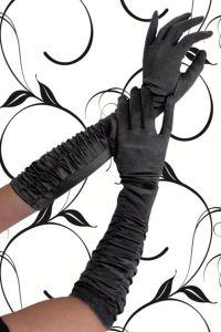 Satin-Handschuhe in Raffoptik