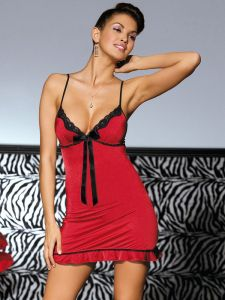Chemise mit String in Rot