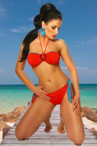 Wende-Bikini in rot / türkis