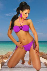 Neckholder-Bikini in lila / braun