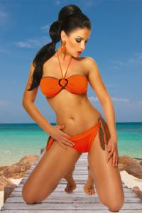 Wende-Bikini in orange/braun