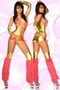 Styliges Gogo-Kostüm in Gold / Pink