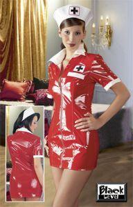 Rotes Lack-Krankenschwester-Set
