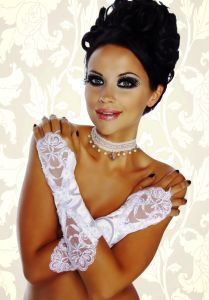 weiße Hochzeit-Handstulpen