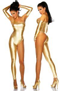 goldener Overall im Metallic-Look