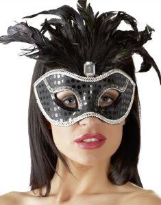 Maske mit Pailletten und Federverzierung