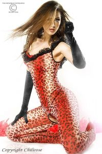 Catsuit mit rotem Leo-Muster
