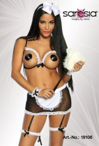 Dienstmädchen-Kostüm im 6 tlg Set