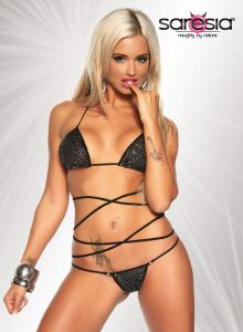 Gogo Wickel-Bikini in schwarz/silber