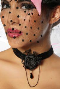 Gothic-Halsband mit Rose
