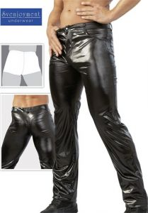 Herren Wetlook Jeans schwarz