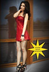Minikleid im roten Nappaleder-Look