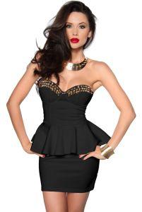 schwarzes Vintage-Kleid mit goldenen Spikes
