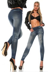 blaue Leggings in Jeans-Optik