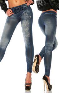 blaue Leggings in Jeans-Optik