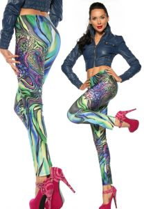 70er Jahre Flower-Power Leggings in knalligen Farben